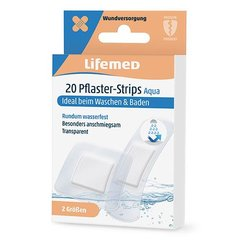 20 Lifemed Pflaster-Strips transparent Aqua 2 Größen