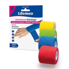 Lifemed Selbsthaftende Bandage 4 m x 5 cm farbig sortiert