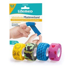 Lifemed Selbsthaftender Pflasterverband 4 m x 2,5 cm, 4...